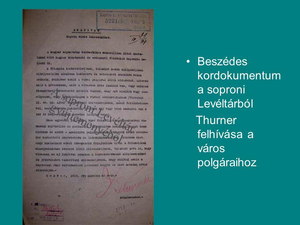 Beszédes kordokumentum a soproni Levéltárból Thurner felhívása a város polgáraihoz
