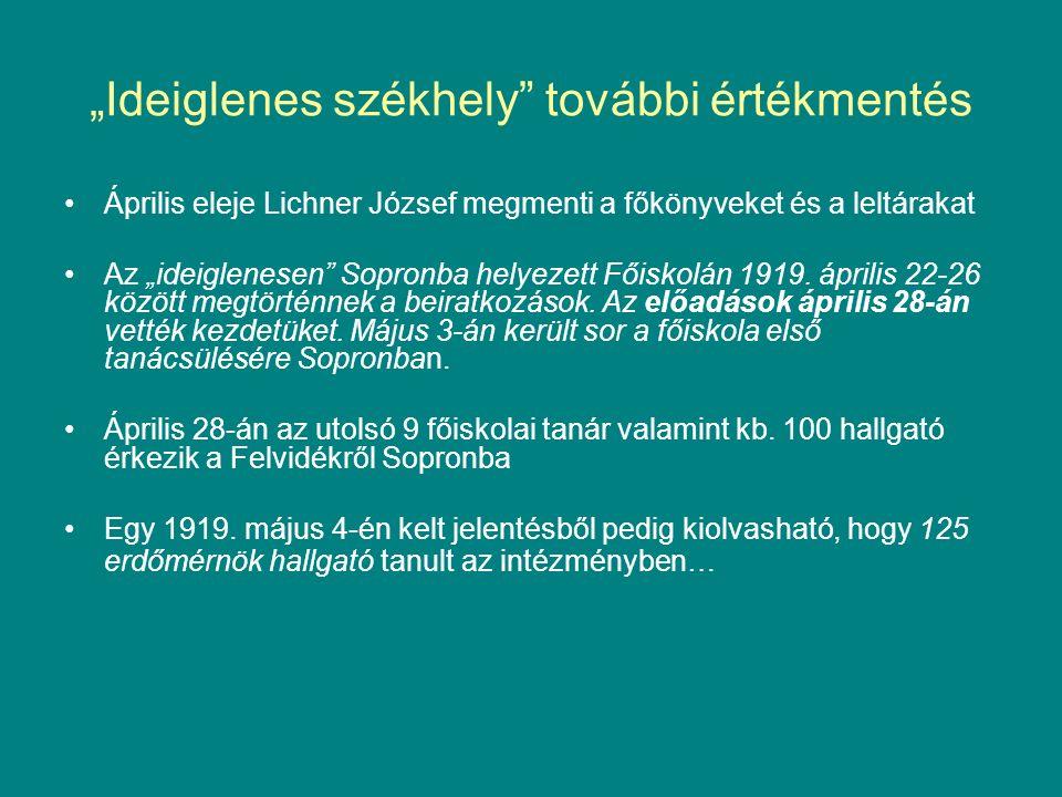 """""""Ideiglenes székhely további értékmentés Április eleje Lichner József megmenti a főkönyveket és a leltárakat Az """"ideiglenesen Sopronba helyezett Főiskolán 1919."""