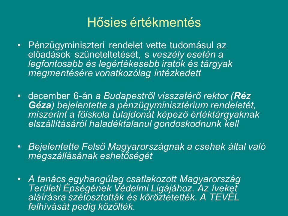 Hősies értékmentés Pénzügyminiszteri rendelet vette tudomásul az előadások szüneteltetését, s veszély esetén a legfontosabb és legértékesebb iratok és tárgyak megmentésére vonatkozólag intézkedett december 6-án a Budapestről visszatérő rektor (Réz Géza) bejelentette a pénzügyminisztérium rendeletét, miszerint a főiskola tulajdonát képező értéktárgyaknak elszállításáról haladéktalanul gondoskodnunk kell Bejelentette Felső Magyarországnak a csehek által való megszállásának eshetőségét A tanács egyhangúlag csatlakozott Magyarország Területi Épségének Védelmi Ligájához.