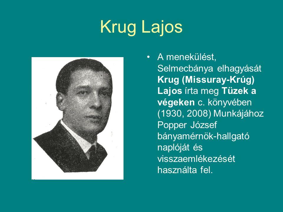 Krug Lajos A menekülést, Selmecbánya elhagyását Krug (Missuray-Krúg) Lajos írta meg Tüzek a végeken c.