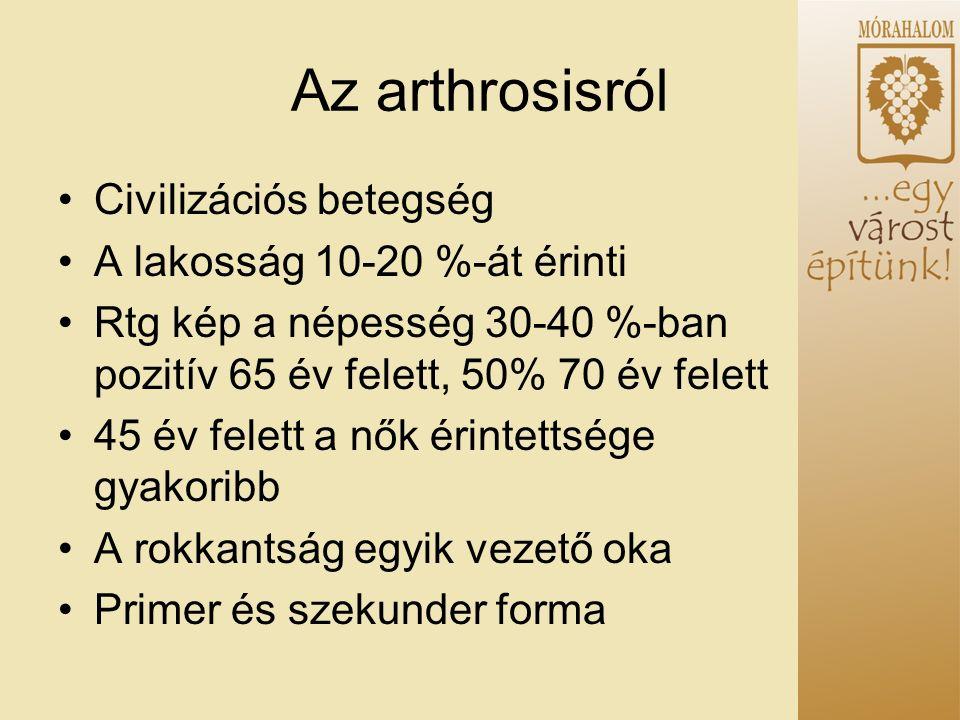 Az arthrosisról Civilizációs betegség A lakosság 10-20 %-át érinti Rtg kép a népesség 30-40 %-ban pozitív 65 év felett, 50% 70 év felett 45 év felett a nők érintettsége gyakoribb A rokkantság egyik vezető oka Primer és szekunder forma