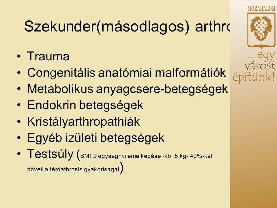 Szekunder(másodlagos) arthrosis Trauma Congenitális anatómiai malformátiók Metabolikus anyagcsere-betegségek Endokrin betegségek Kristályarthropathiák Egyéb izületi betegségek Testsúly ( BMI 2 egységnyi emelkedése -kb.