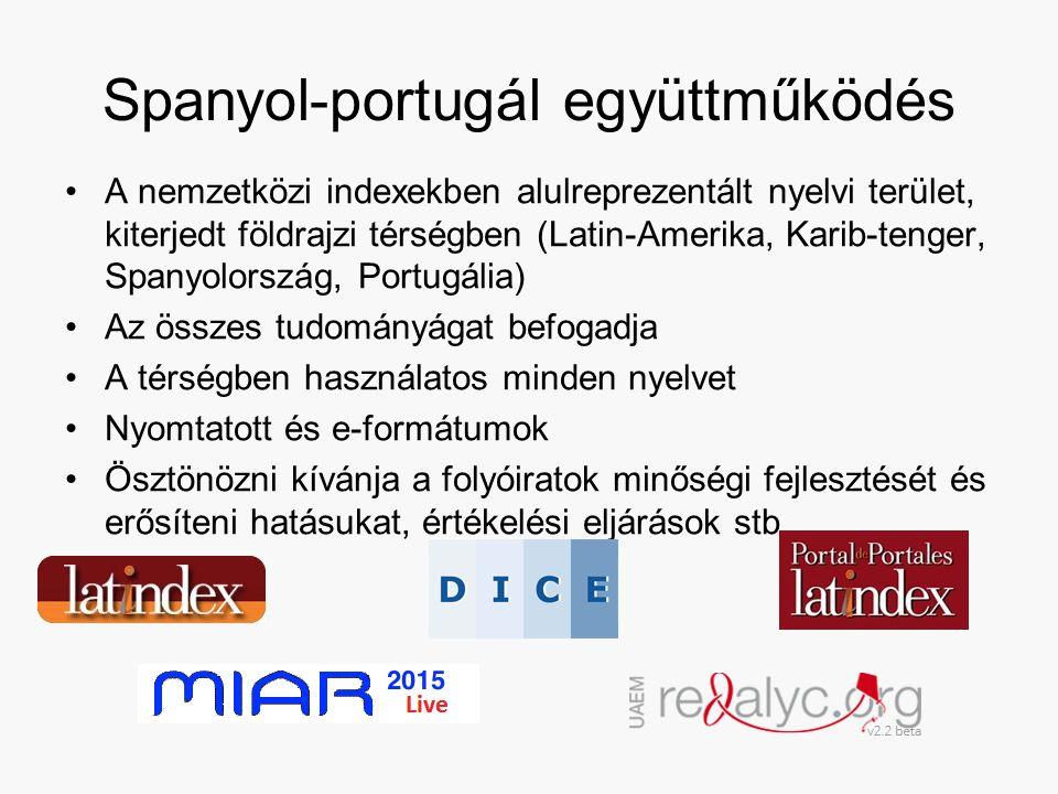 Spanyol-portugál együttműködés A nemzetközi indexekben alulreprezentált nyelvi terület, kiterjedt földrajzi térségben (Latin-Amerika, Karib-tenger, Spanyolország, Portugália) Az összes tudományágat befogadja A térségben használatos minden nyelvet Nyomtatott és e-formátumok Ösztönözni kívánja a folyóiratok minőségi fejlesztését és erősíteni hatásukat, értékelési eljárások stb.