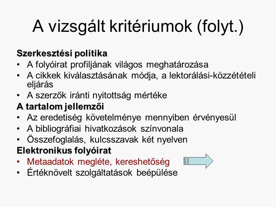 A vizsgált kritériumok (folyt.) Szerkesztési politika A folyóirat profiljának világos meghatározása A cikkek kiválasztásának módja, a lektorálási-közzétételi eljárás A szerzők iránti nyitottság mértéke A tartalom jellemzői Az eredetiség követelménye mennyiben érvényesül A bibliográfiai hivatkozások színvonala Összefoglalás, kulcsszavak két nyelven Elektronikus folyóirat Metaadatok megléte, kereshetőség Értéknövelt szolgáltatások beépülése