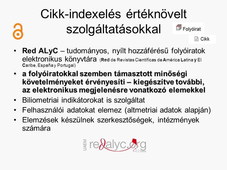 Cikk-indexelés értéknövelt szolgáltatásokkal Red ALyC – tudományos, nyílt hozzáférésű folyóiratok elektronikus könyvtára (Red de Revistas Científicas de América Latina y El Caribe, España y Portugal) a folyóiratokkal szemben támasztott minőségi követelményeket érvényesíti – kiegészítve további, az elektronikus megjelenésre vonatkozó elemekkela folyóiratokkal szemben támasztott minőségi követelményeket érvényesíti – kiegészítve további, az elektronikus megjelenésre vonatkozó elemekkel Biliometriai indikátorokat is szolgáltat Felhasználói adatokat elemez (altmetriai adatok alapján) Elemzések készülnek szerkesztőségek, intézmények számára