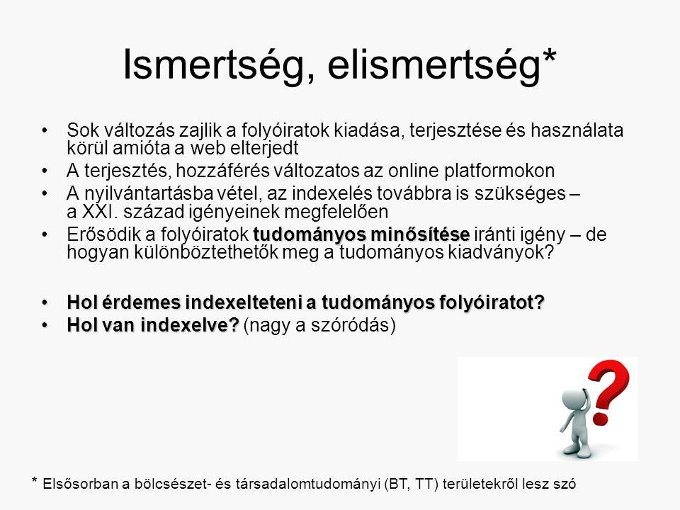 Ismertség, elismertség* Sok változás zajlik a folyóiratok kiadása, terjesztése és használata körül amióta a web elterjedt A terjesztés, hozzáférés változatos az online platformokon A nyilvántartásba vétel, az indexelés továbbra is szükséges – a XXI.
