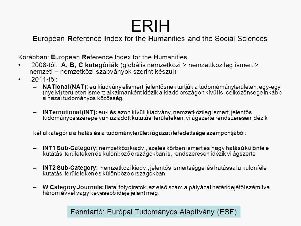 ERIH Korábban: European Reference Index for the Humanities 2008-tól: A, B, C kategóriák (globális nemzetközi > nemzettközileg ismert > nemzeti – nemzetközi szabványok szerint készül) 2011-től: –NATional (NAT): eu kiadvány elismert, jelentősnek tartják a tudomámányterületen, egy-egy (nyelvi) területen ismert; alkalmanként idézik a kiadó országon kívül is, célközönsége inkább a hazai tudományos közösség.