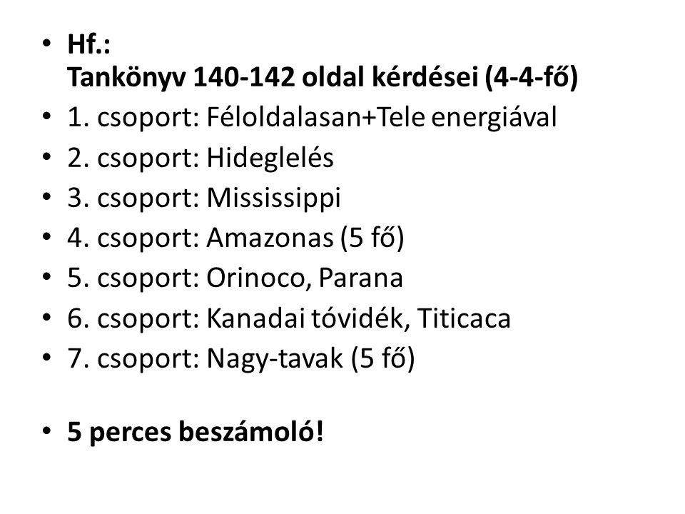 Hf.: Tankönyv 140-142 oldal kérdései (4-4-fő) 1. csoport: Féloldalasan+Tele energiával 2. csoport: Hideglelés 3. csoport: Mississippi 4. csoport: Amaz