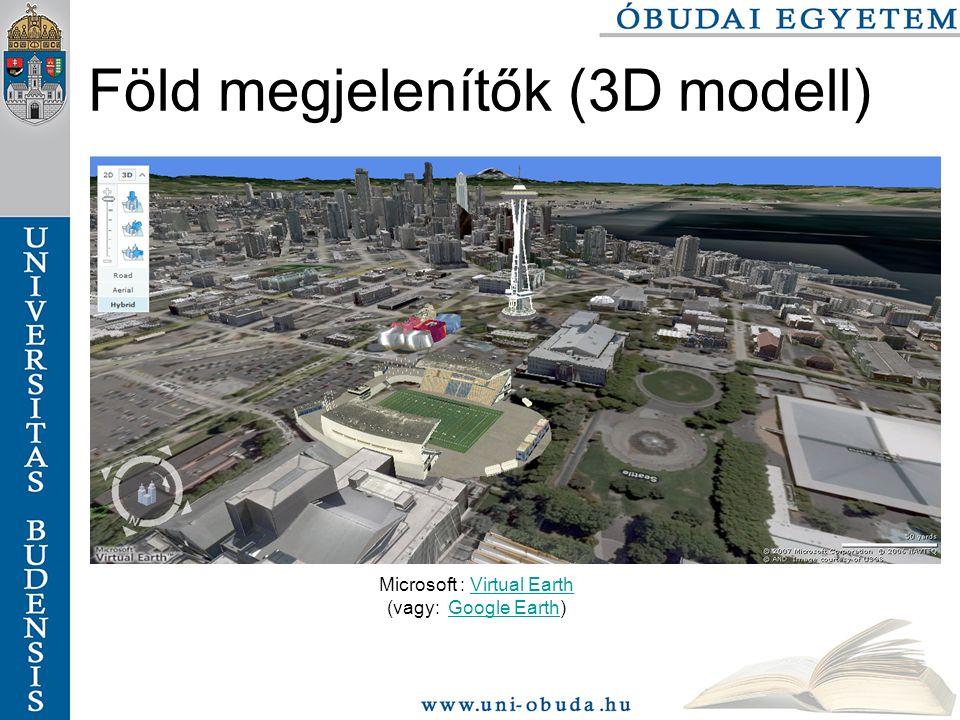 Föld megjelenítők (3D modell) Microsoft : Virtual EarthVirtual Earth (vagy: Google Earth)Google Earth