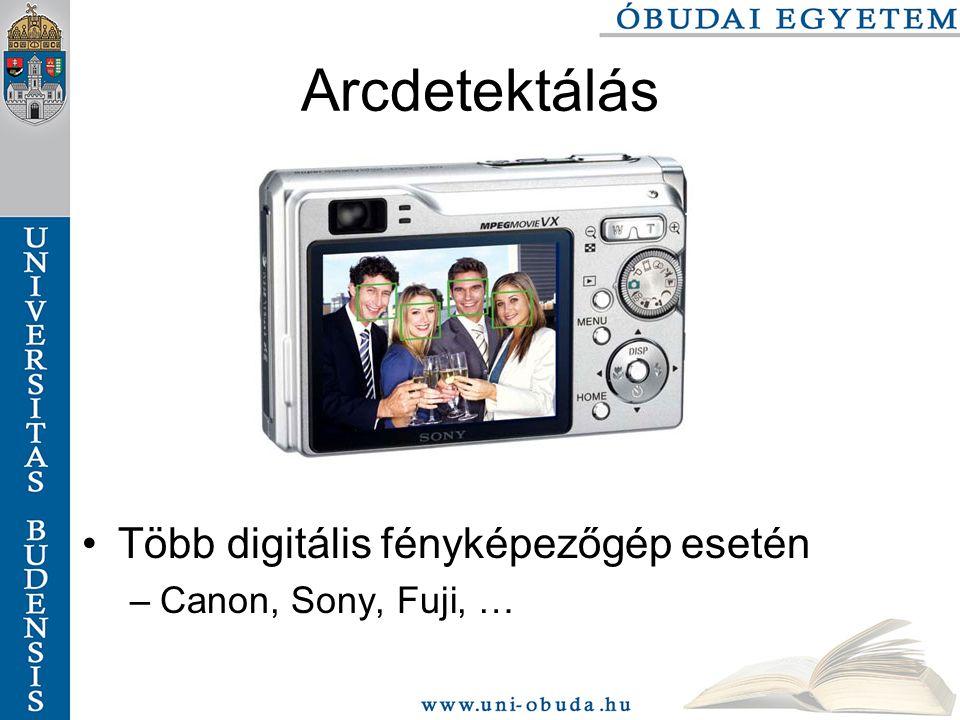 Arcdetektálás Több digitális fényképezőgép esetén –Canon, Sony, Fuji, …