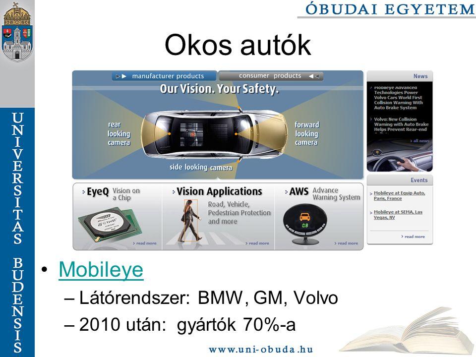 Okos autók Mobileye –Látórendszer: BMW, GM, Volvo –2010 után: gyártók 70%-a