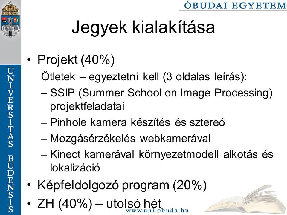 Jegyek kialakítása Projekt (40%) Ötletek – egyeztetni kell (3 oldalas leírás): –SSIP (Summer School on Image Processing) projektfeladatai –Pinhole kamera készítés és sztereó –Mozgásérzékelés webkamerával –Kinect kamerával környezetmodell alkotás és lokalizáció Képfeldolgozó program (20%) ZH (40%) – utolsó hét
