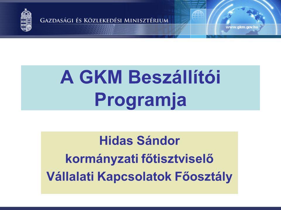 A GKM Beszállítói Programja Hidas Sándor kormányzati főtisztviselő Vállalati Kapcsolatok Főosztály
