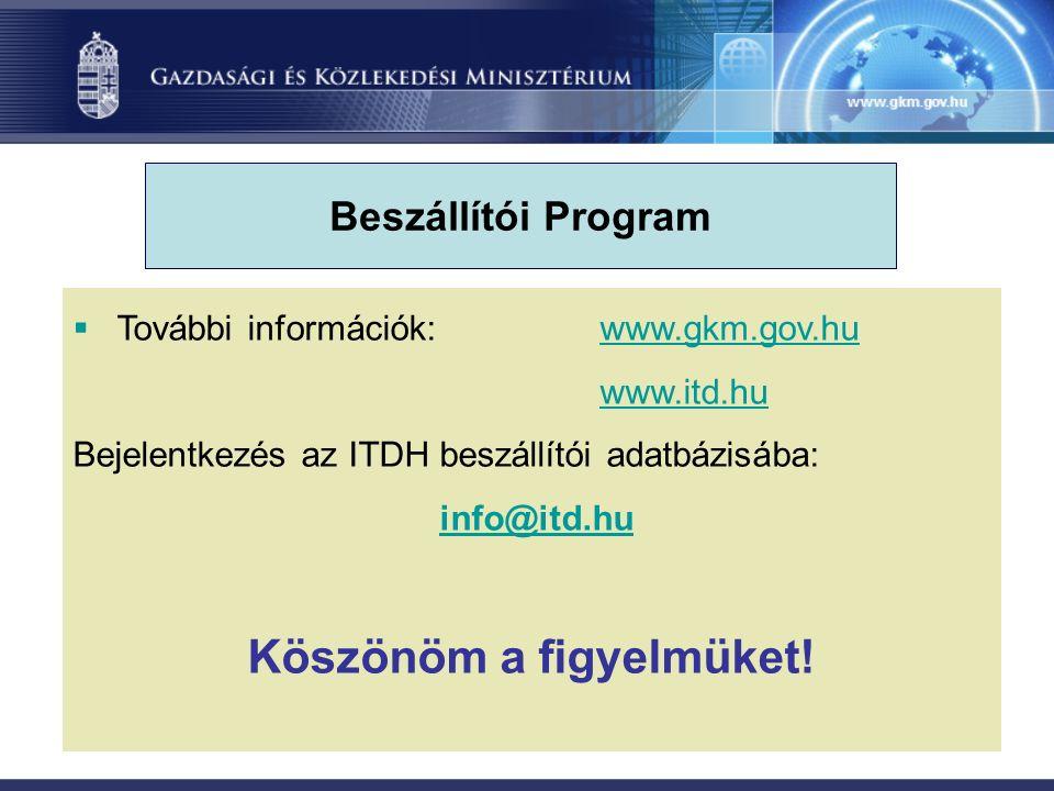  További információk:www.gkm.gov.huwww.gkm.gov.hu www.itd.hu Bejelentkezés az ITDH beszállítói adatbázisába: info@itd.hu Köszönöm a figyelmüket.