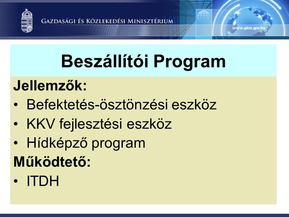 Beszállítói Program Jellemzők: Befektetés-ösztönzési eszköz KKV fejlesztési eszköz Hídképző program Működtető: ITDH