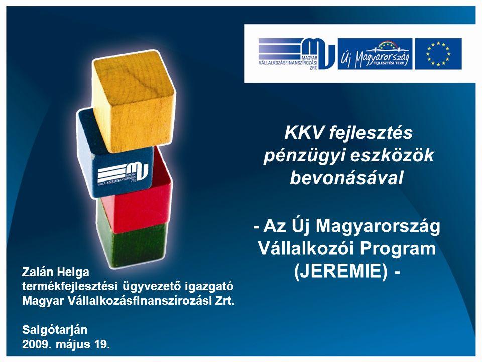 KKV fejlesztés pénzügyi eszközök bevonásával Zalán Helga termékfejlesztési ügyvezető igazgató Magyar Vállalkozásfinanszírozási Zrt.
