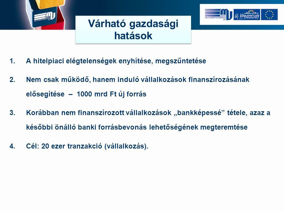 """1.A hitelpiaci elégtelenségek enyhítése, megszűntetése 2.Nem csak működő, hanem induló vállalkozások finanszírozásának elősegítése – 1000 mrd Ft új forrás 3.Korábban nem finanszírozott vállalkozások """"bankképessé tétele, azaz a későbbi önálló banki forrásbevonás lehetőségének megteremtése 4.Cél: 20 ezer tranzakció (vállalkozás)."""