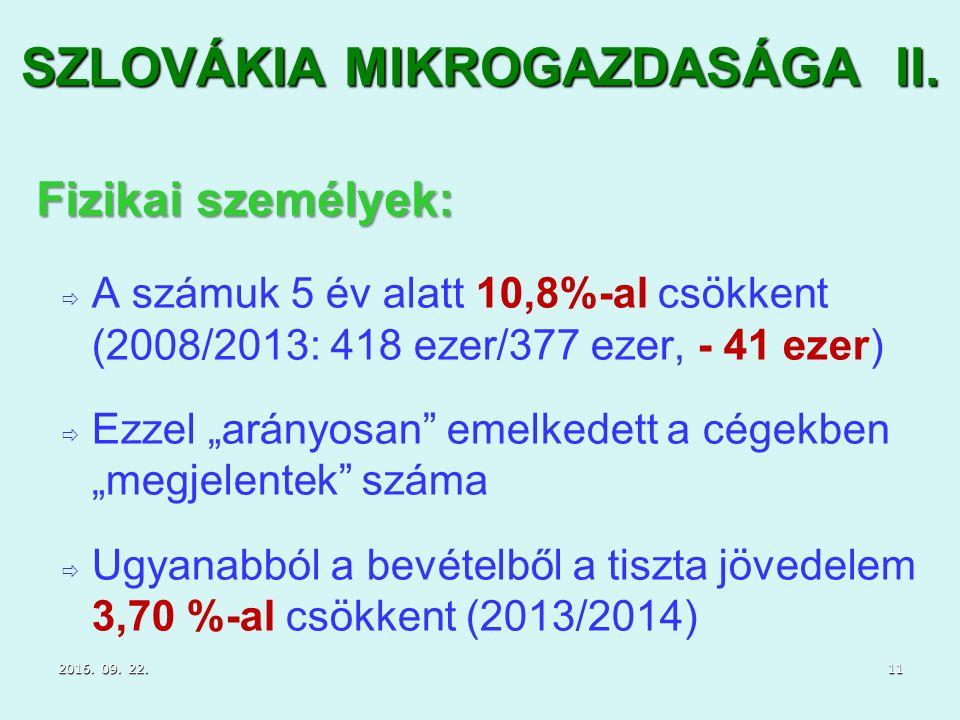 """SZLOVÁKIA MIKROGAZDASÁGA II.   A számuk 5 év alatt 10,8%-al csökkent (2008/2013: 418 ezer/377 ezer, - 41 ezer)   Ezzel """"arányosan"""" emelkedett a cé"""