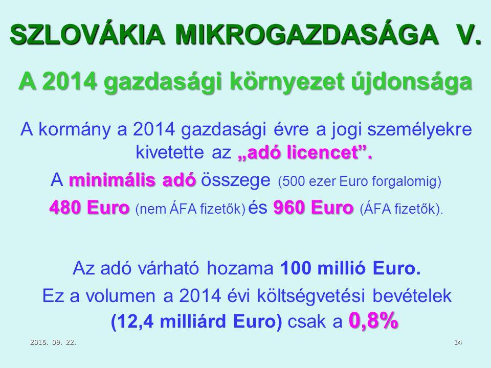 """SZLOVÁKIA MIKROGAZDASÁGA V. """"adó licencet ."""