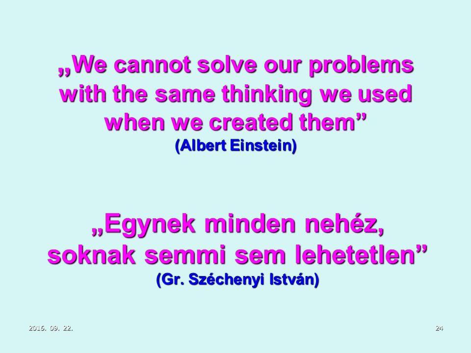 """2016. 09. 22.2016. 09. 22.2016. 09. 22.24 """"Egynek minden nehéz, soknak semmi sem lehetetlen"""" (Gr. Széchenyi István) """" We cannot solve our problems wit"""