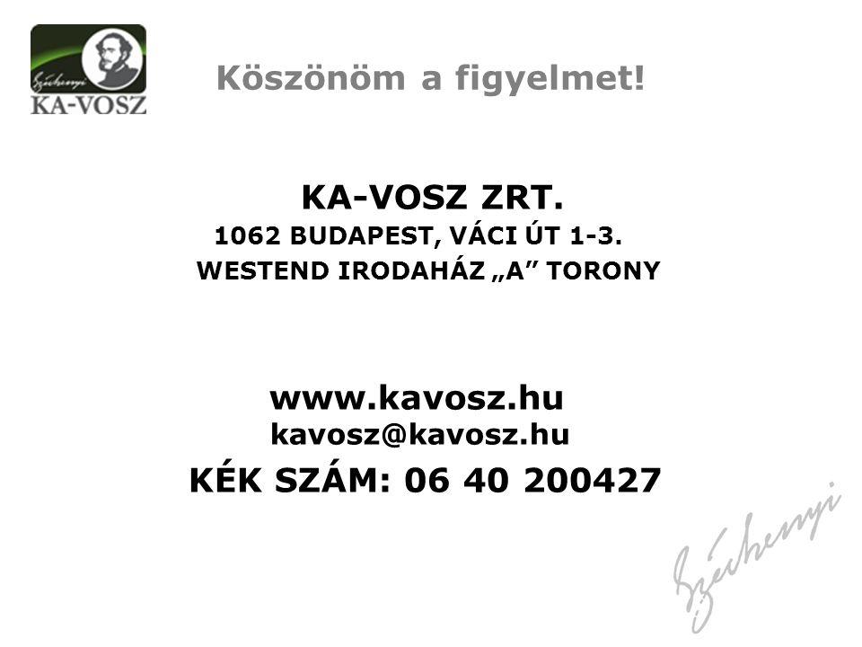 KA-VOSZ ZRT. 1062 BUDAPEST, VÁCI ÚT 1-3.