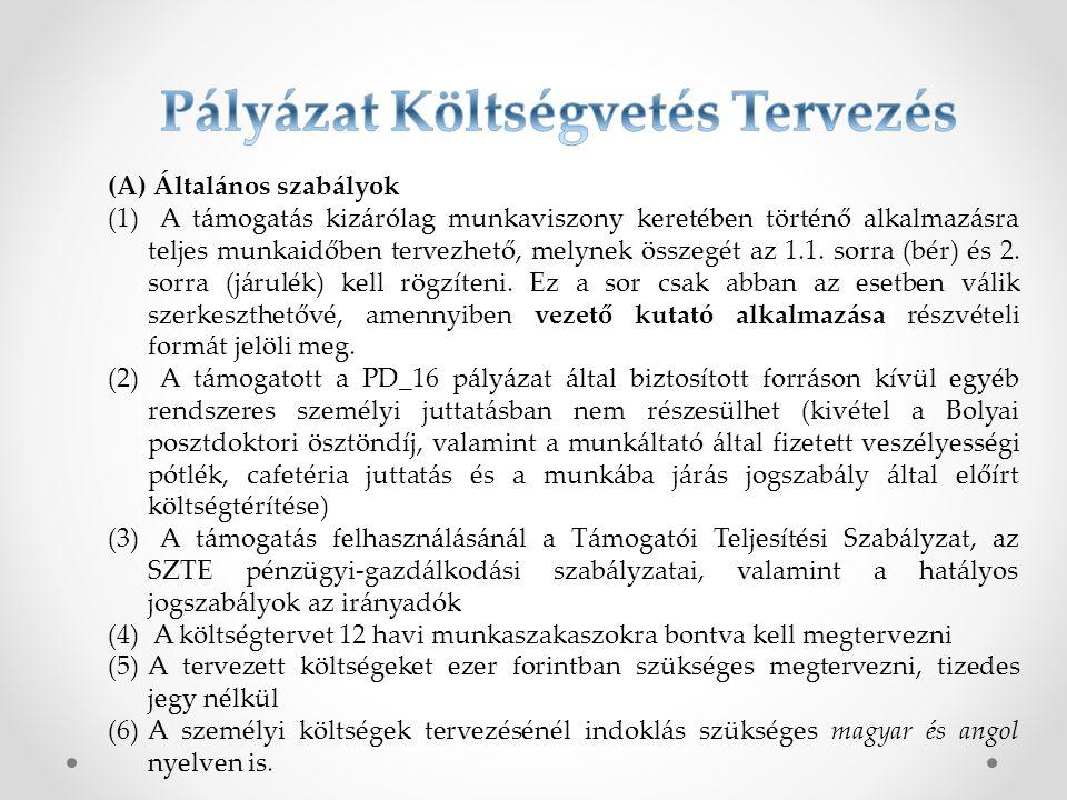 (A) Általános szabályok (1) A támogatás kizárólag munkaviszony keretében történő alkalmazásra teljes munkaidőben tervezhető, melynek összegét az 1.1.