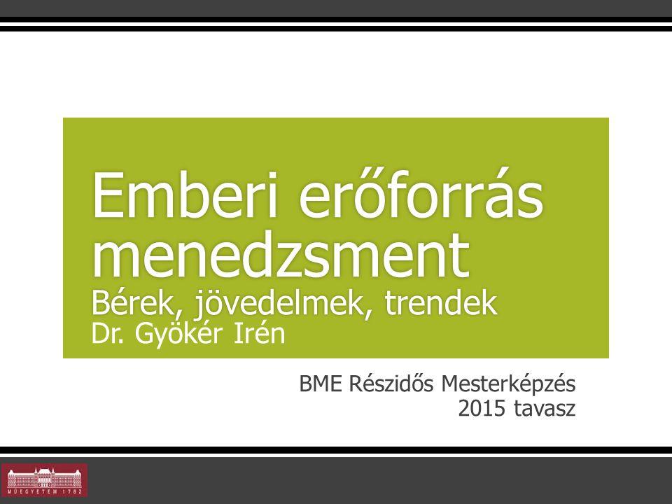 BME Részidős Mesterképzés 2015 tavasz Emberi erőforrás menedzsment Bérek, jövedelmek, trendek Emberi erőforrás menedzsment Bérek, jövedelmek, trendek Dr.