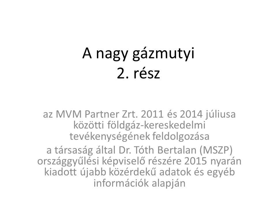A nagy gázmutyi 2. rész az MVM Partner Zrt. 2011 és 2014 júliusa közötti földgáz-kereskedelmi tevékenységének feldolgozása a társaság által Dr. Tóth B