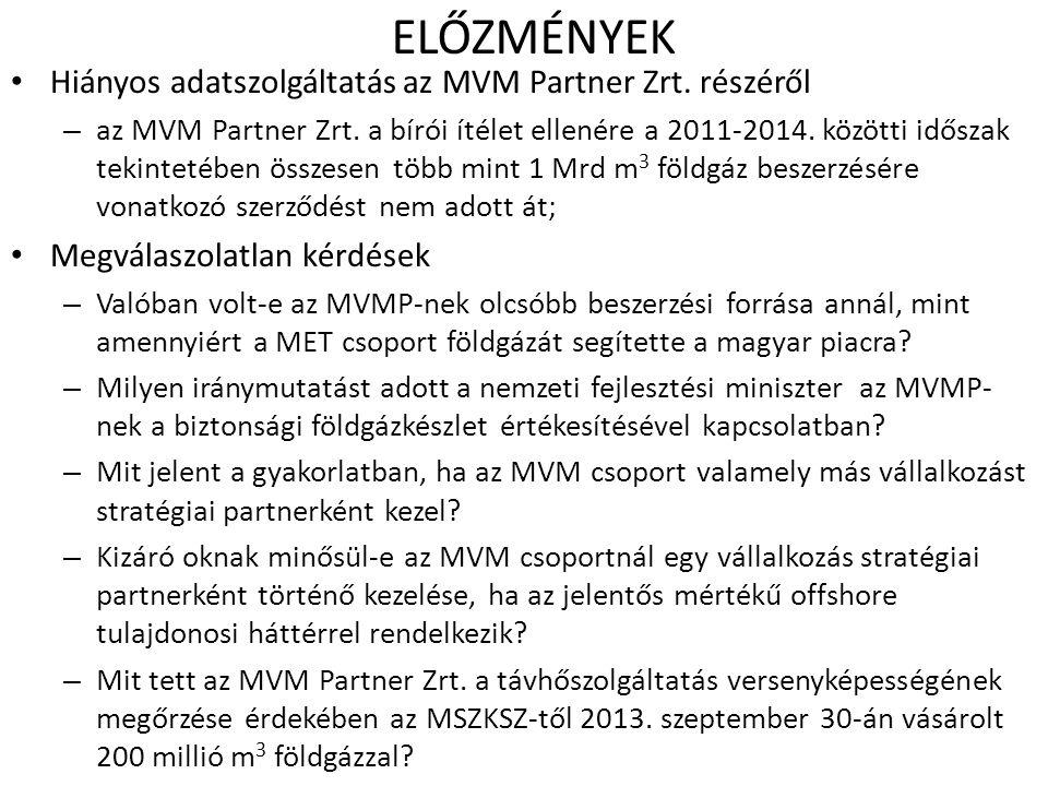 ELŐZMÉNYEK Hiányos adatszolgáltatás az MVM Partner Zrt. részéről – az MVM Partner Zrt. a bírói ítélet ellenére a 2011-2014. közötti időszak tekintetéb