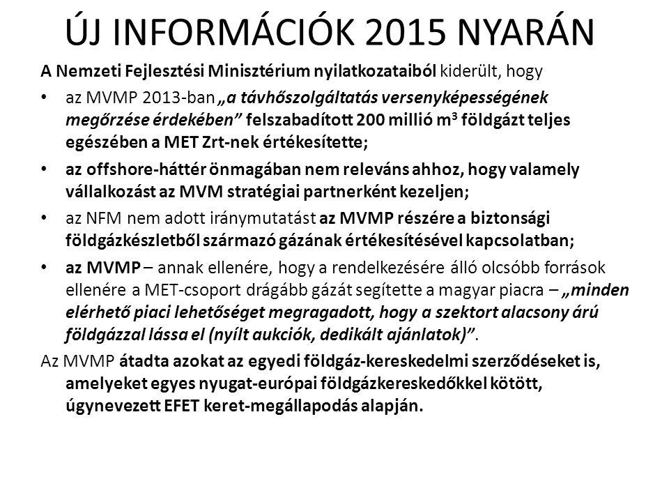 """ÚJ INFORMÁCIÓK 2015 NYARÁN A Nemzeti Fejlesztési Minisztérium nyilatkozataiból kiderült, hogy az MVMP 2013-ban """"a távhőszolgáltatás versenyképességéne"""