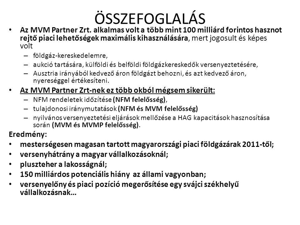 ÖSSZEFOGLALÁS Az MVM Partner Zrt.