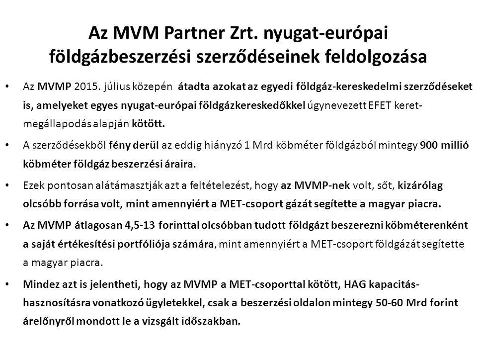 Az MVM Partner Zrt.nyugat-európai földgázbeszerzési szerződéseinek feldolgozása Az MVMP 2015.