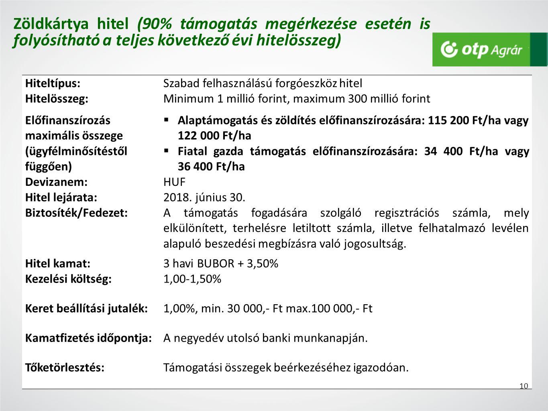 Hiteltípus:Szabad felhasználású forgóeszköz hitel Hitelösszeg:Minimum 1 millió forint, maximum 300 millió forint Előfinanszírozás maximális összege (ügyfélminősítéstől függően)  Alaptámogatás és zöldítés előfinanszírozására: 115 200 Ft/ha vagy 122 000 Ft/ha  Fiatal gazda támogatás előfinanszírozására: 34 400 Ft/ha vagy 36 400 Ft/ha Devizanem:HUF Hitel lejárata:2018.