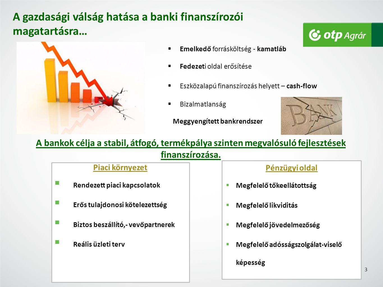 A gazdasági válság hatása a banki finanszírozói magatartásra…  Fedezeti oldal erősítése  Emelkedő forrásköltség - kamatláb  Eszközalapú finanszírozás helyett – cash-flow  Bizalmatlanság A bankok célja a stabil, átfogó, termékpálya szinten megvalósuló fejlesztések finanszírozása.
