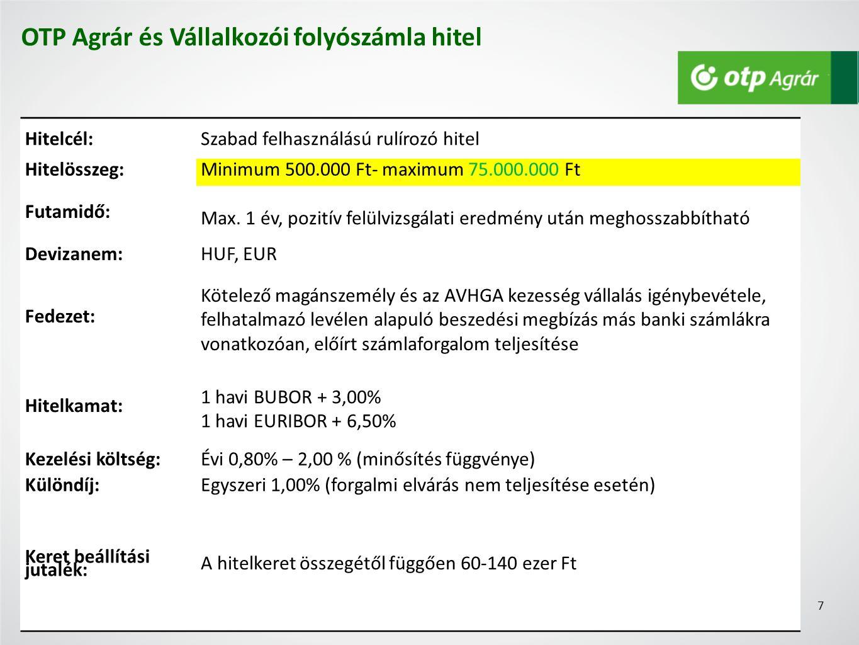 Hitelcél:Szabad felhasználású rulírozó hitel Hitelösszeg:Minimum 500.000 Ft- maximum 75.000.000 Ft Futamidő: Max.