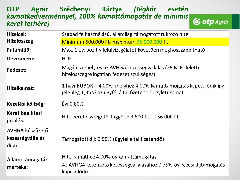 Hitelcél:Szabad felhasználású, államilag támogatott rulírozó hitel Hitelösszeg: Minimum 500.000 Ft- maximum 75.000.000 Ft Futamidő:Max.