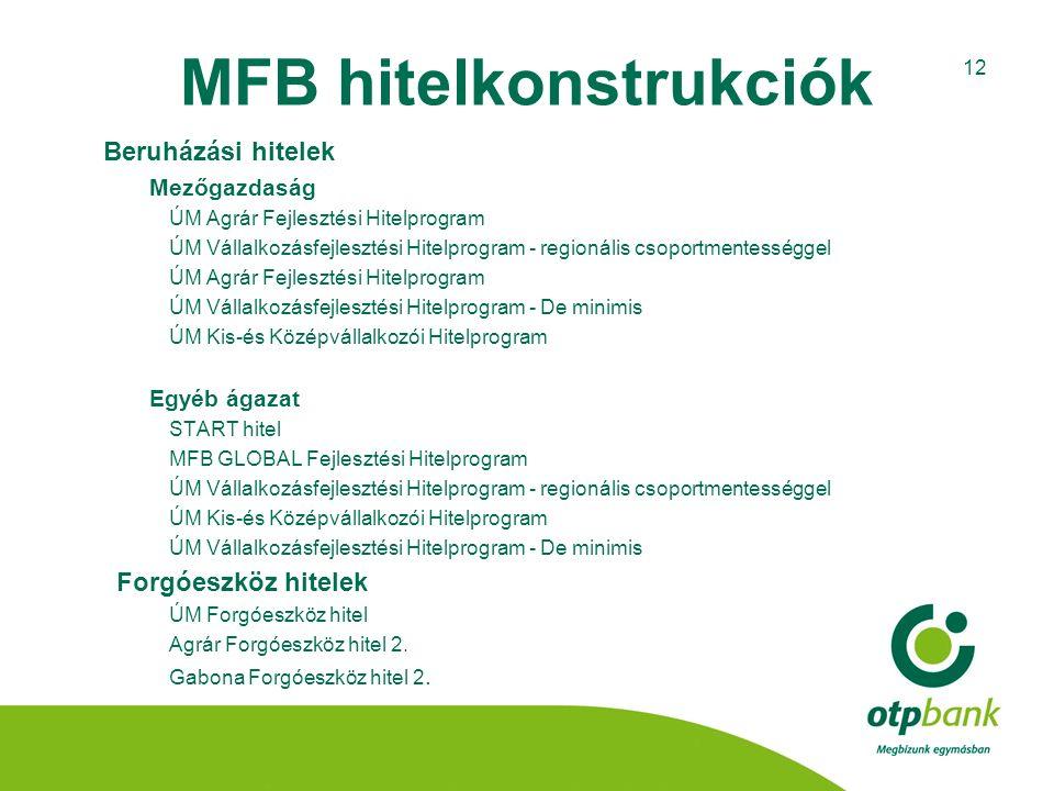 12 MFB hitelkonstrukciók Beruházási hitelek Mezőgazdaság ÚM Agrár Fejlesztési Hitelprogram ÚM Vállalkozásfejlesztési Hitelprogram - regionális csoport