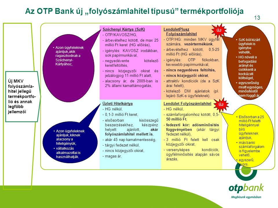"""13 Az OTP Bank új """"folyószámlahitel típusú"""" termékportfoliója Széchenyi Kártya (SzK) -OTP/KAVOSZ/HG, -árbevételhez kötött, de max 25 millió Ft keret ("""