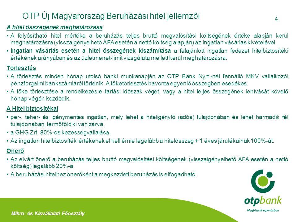 4 OTP Új Magyarország Beruházási hitel jellemzői Mikro- és Kisvállalati Főosztály A hitel összegének meghatározása A folyósítható hitel mértéke a beru