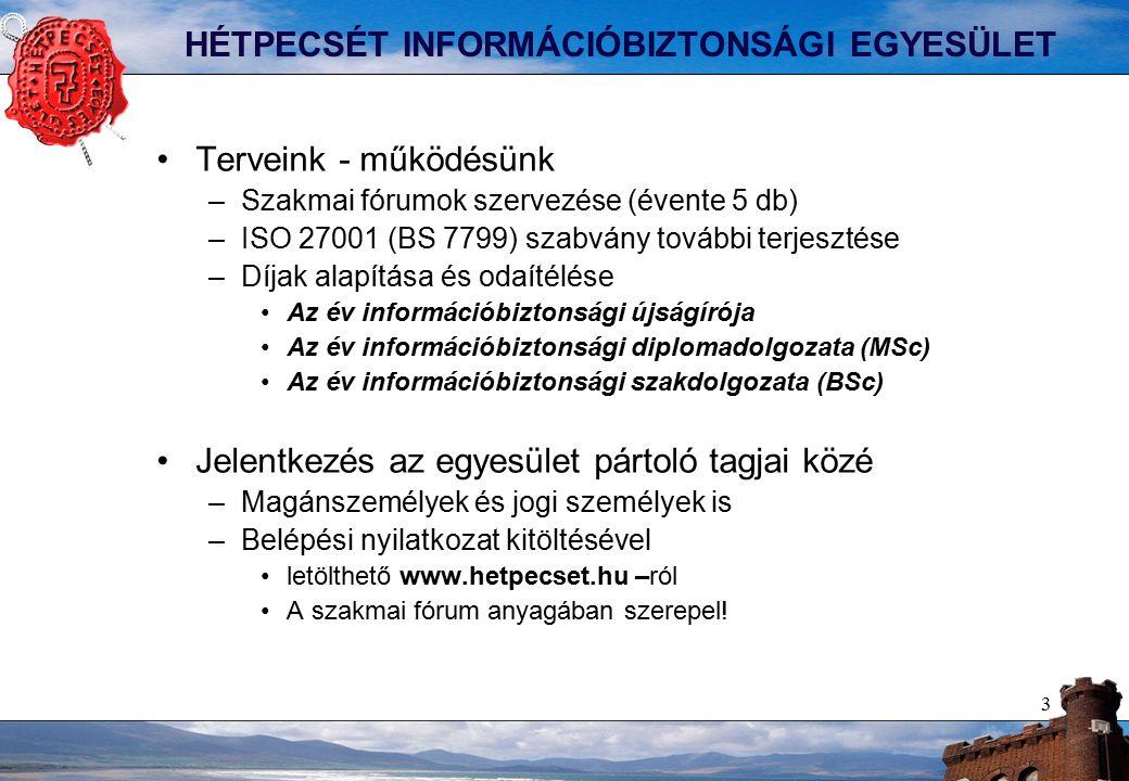 3 HÉTPECSÉT INFORMÁCIÓBIZTONSÁGI EGYESÜLET Terveink - működésünk –Szakmai fórumok szervezése (évente 5 db) –ISO 27001 (BS 7799) szabvány további terjesztése –Díjak alapítása és odaítélése Az év információbiztonsági újságírója Az év információbiztonsági diplomadolgozata (MSc) Az év információbiztonsági szakdolgozata (BSc) Jelentkezés az egyesület pártoló tagjai közé –Magánszemélyek és jogi személyek is –Belépési nyilatkozat kitöltésével letölthető www.hetpecset.hu –ról A szakmai fórum anyagában szerepel!