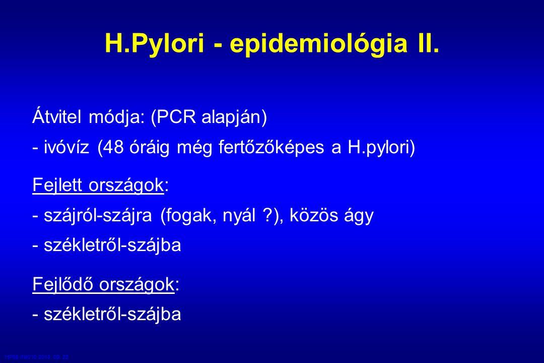 HP98 /NK/10 2016. 09. 22. H.Pylori - epidemiológia II.