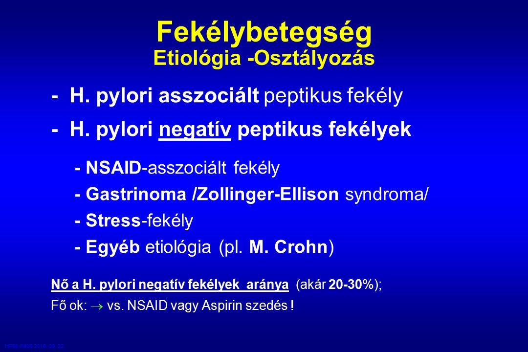 HP98 /NK/6 2016. 09. 22. Fekélybetegség Etiológia -Osztályozás - H.