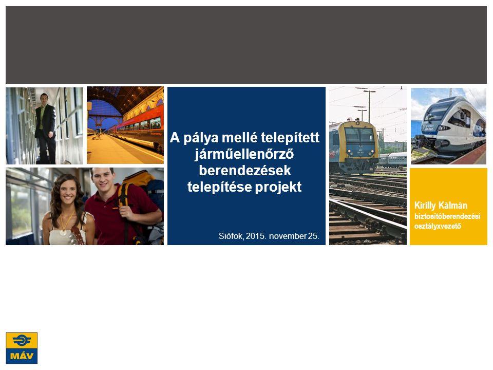 2 Közlekedésbiztonság növelését célzó projekt elemei Vasúti átjárók biztonságának növelése Vasúti átjárók biztosítottságának javítása Vasúti átjárók vonatérzékelésének javítása Vasúti átjárók megfigyelése video kamera rendszerrel Vasúti átjáró tervek készítése Közlekedő vonatok rendellenességeinek kiszűrése Hőnfutásjelzők telepítése Dinamikus kerékterhelés és laposkerék jelző berendezések telepítése Rakománycsúszást ellenőrző berendezések telepítése Nyomkarima ellenőrző berendezések telepítése Áramszedő megfigyelő berendezések telepítése Video képfeldolgozás pályafelügyeleti rendszer létesítése