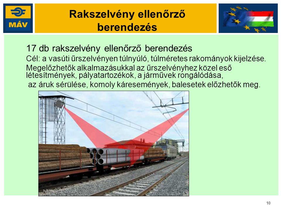 10 Rakszelvény ellenőrző berendezés 17 db rakszelvény ellenőrző berendezés Cél: a vasúti űrszelvényen túlnyúló, túlméretes rakományok kijelzése. Megel