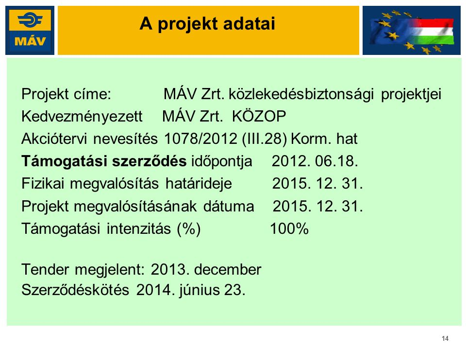 14 A projekt adatai Projekt címe: MÁV Zrt. közlekedésbiztonsági projektjei Kedvezményezett MÁV Zrt. KÖZOP Akciótervi nevesítés 1078/2012 (III.28) Korm
