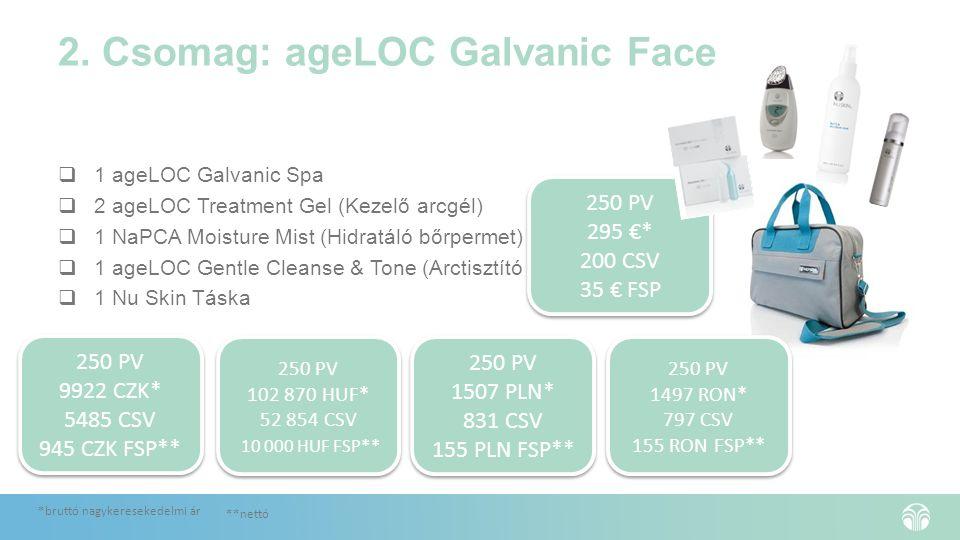 2. Csomag: ageLOC Galvanic Face  1 ageLOC Galvanic Spa  2 ageLOC Treatment Gel (Kezelő arcgél)  1 NaPCA Moisture Mist (Hidratáló bőrpermet)  1 age