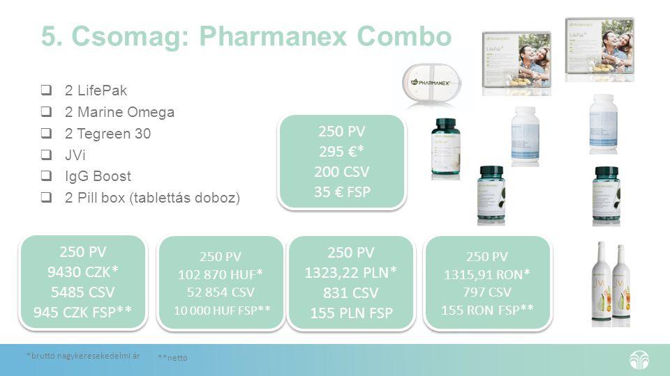 5. Csomag: Pharmanex Combo  2 LifePak  2 Marine Omega  2 Tegreen 30  JVi  IgG Boost  2 Pill box (tablettás doboz) 250 PV 295 €* 200 CSV 35 € FSP