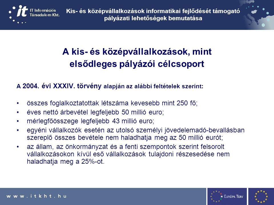 Kis- és középvállalkozások informatikai fejlődését támogató pályázati lehetőségek bemutatása A kis- és középvállalkozások, mint elsődleges pályázói célcsoport A 2004.