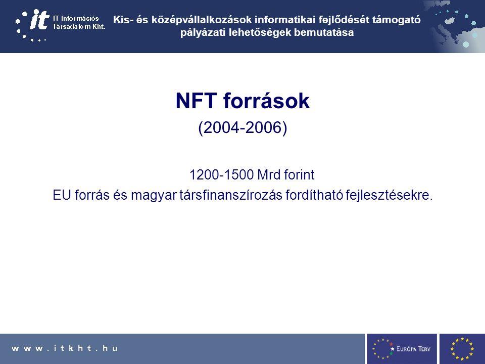 Kis- és középvállalkozások informatikai fejlődését támogató pályázati lehetőségek bemutatása NFT források (2004-2006) 1200-1500 Mrd forint EU forrás és magyar társfinanszírozás fordítható fejlesztésekre.