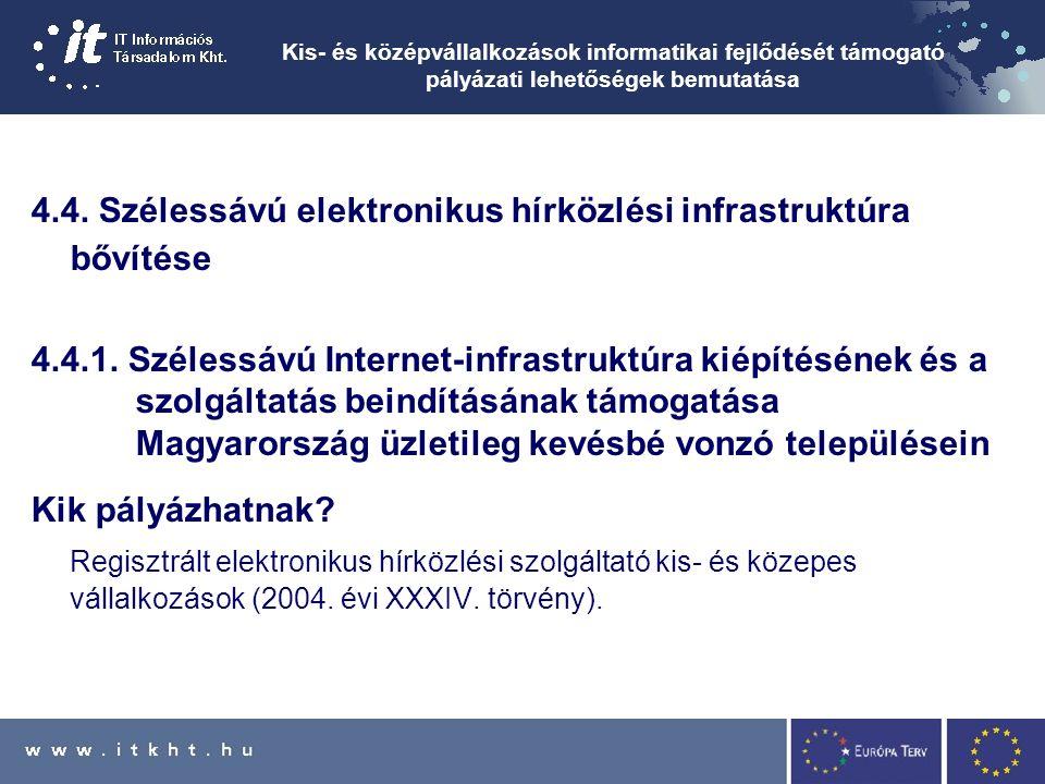 Kis- és középvállalkozások informatikai fejlődését támogató pályázati lehetőségek bemutatása 4.4.